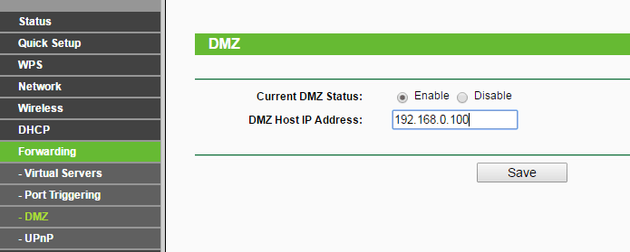 DMZ host configuration